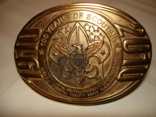 """1910-2010 BSA """"100 Yrs. of SCOUTING"""" 24KT. """"GOLD PLATED"""" Belt Buckle --- NEW!!!"""