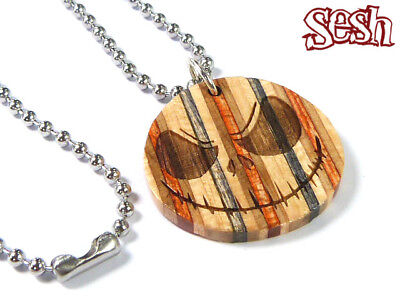RECYCLED SKATEBOARD Wooden HANDMADE Jack Skellington Necklace Cool Unusual Gifts