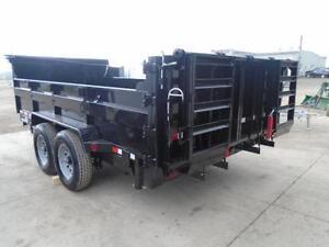 7 TON DUMP TRAILER - BUILT IN RAMP SYSTEM - 7 X 14' SIZE $9290 London Ontario image 2