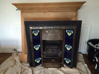 Victorian Style Fireplace Surround with Art Deco Metal Fire Surround and Art Deco Tiles