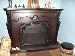 Electric Fireplace with Mahogany Surround Mantle