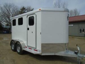 2019 Adam Trailer 2 Horse Slant Load Bumper Pull Dress Room