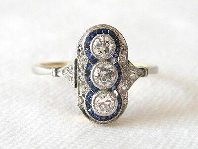 EXCELLENT Brillantring Art Déco Damen Ring Gold 585 Diamanten 0,31+ ct Saphir