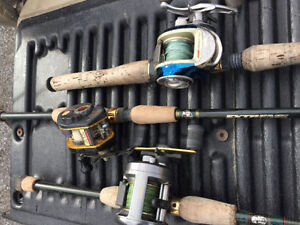 Bunch of Bass Pike Fishing Rods & Reels