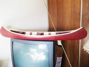 RARE NEW BRUNSWICK FOLK ART NATIVE WOOD CANOE WITH ORIG. PAINT