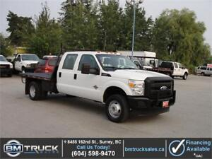 2011 FORD F-350 SUPER DUTY CREW CAB FLAT DECK DUALLY 4X4 DIESEL