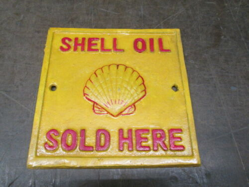 Contemporary Cast Iron Sign Shell Oil Sold Here Gas Gas And Oil Advertising