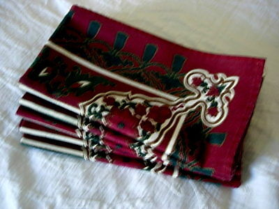 Beautiful Set of 6 Burgundy Print Napkins - Discounted for Fading