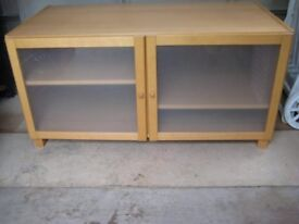 Solid And Chunky Beech Effect Cabinet With Glazed And Frosted Doors.