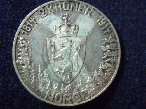 1914 NORWAY KING Haakon VII Norwegian Constitution Silver 2 Kroner Coin P-64