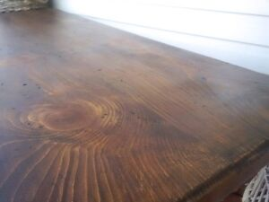 Dark pine trestle base coffee, dark walnut stain and black base