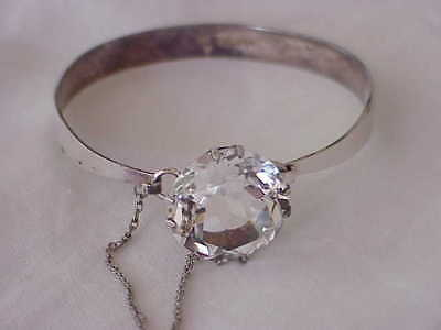 VINTAGE EUROPEAN STERLING SILVER 20 MM CLEAR RHINESTONE BANGLE BRACELET
