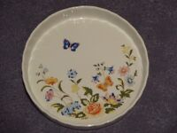 Flute-edged china flan dish made by Aynsley