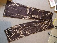 Women's Vintage African Pattern Flare Trousers, Silk and Linen. Size 36 Hip
