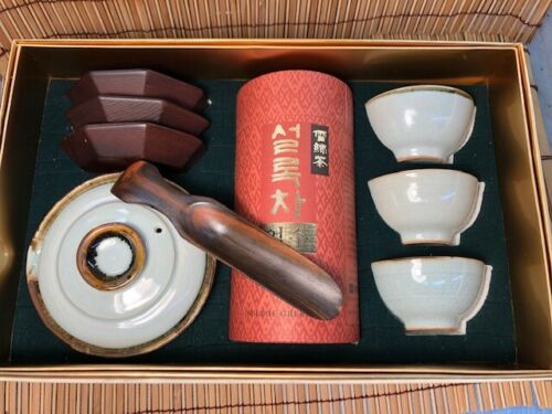 Korean Traditional Tea set, bowl w/lid, 3 cups/stands, carved tea scoop,box,exc