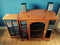 Pine hi-fi cabinet