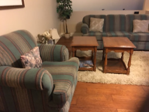 maple wood end tables and sofa & chair