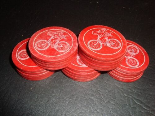 Antique Bicycle Rider Red Poker Chips – 24 in All