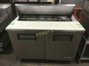 True 4 Refrigerated Prep Table on Wheels - Storeys Online Restaurant Repossession Auction - August 20th