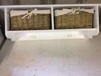 Wall hanging coat and storage rack, with 2 wicker baskets,