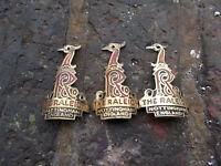 3 x raleigh heron head badges , ideal chopper or grifter