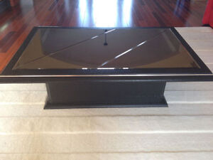 Black with mirror top coffee table+glass top metal legs+chairs++