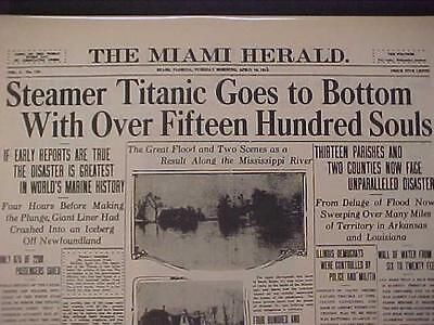 VINTAGE NEWSPAPER HEADLINE ~DISASTER STEAMER SEA SHIP SINKS TITANIC AT BOTTOM