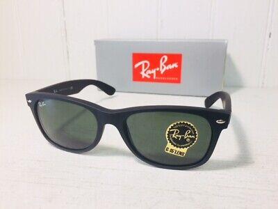 RAY-BAN RB2132 622 NEW WAYFARER Matte Black Rubber w/Green G-15 55mm Suns $144
