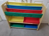 Solid wooden book case and toys storage stand great condition