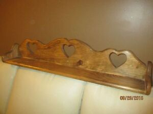 Home made solid pine shelf with heart inset- Excellent condition