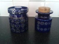 Vintage Portmeirion storage jars, blue totem