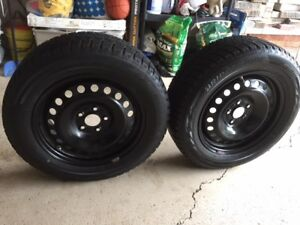 FOUR Bridgestone Blizzak WS 80 SNOW TIRES on rims, TPMS sensors