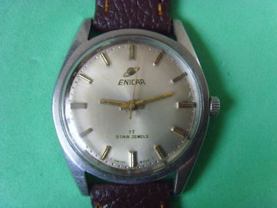 Vintage Swiss Enicar 17J Mechanical Manual Used Watch