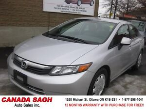 2012 HONDA CIVIC AUTO, ALL POWER , 12M.WRTY+SAFETY $8490