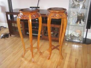 Antique Marble Top Chinese Plant Tables x 2