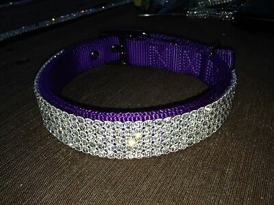 "Large Purple Swarovski Crystal Rhinestone Dog Collar 16-20"" Necks"