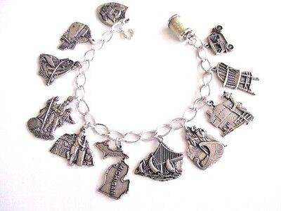 vintage sterling charm bracelet-Heritage MICHIGAN landmarks and historical