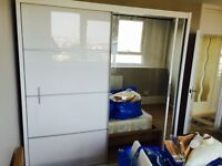 White High Gloss Wardrobe with mirror