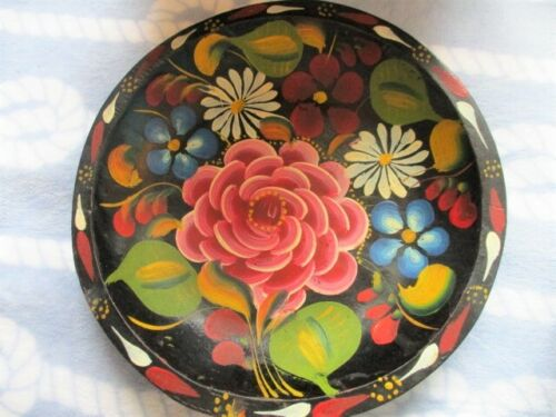 Mint Hand Painted Pink Flower Floral Wood Folk Art Mexican Batea Tole Tray Bowl