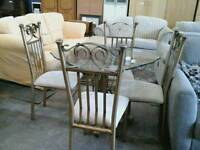 Gold metal and glass kitchen table with 4 chairs