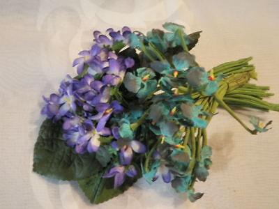 """Vintage Millinery Flower Collection 1"""" Violets Purple Turquoise German H1627"""