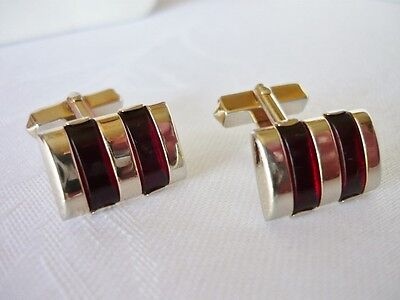 Vintage SWANK Goldtone & Red Cufflinks on Rummage