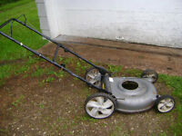 lawn mower body good cond. with big wheels $ 20.00