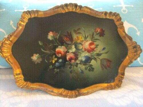 Shabby Hand Painted Flowers Gold Rim Italian Florentine Wood Tole Designer Tray
