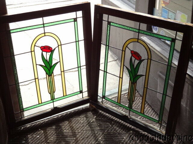 "Pair of Antique Chicago Bungalow Style Stained Leaded Glass Windows 28"" x 33"""