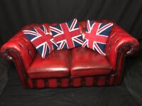 1 Handmade Leather Chesterfield Style Oxblood Red 2 Seater Sofa Settee