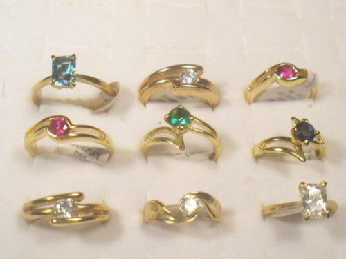 9... RINGS VINTAGE  DESIGNER SIMULANTED DIAMOMDS CUBIC ZIRCONIA CZ