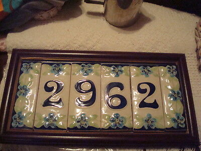 Blue/Green Handmade Ceramic House Numbers & Decorative End Pieces 2, 9, 6, 2 ()