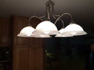 Modern brushed stainless 5 light fixture