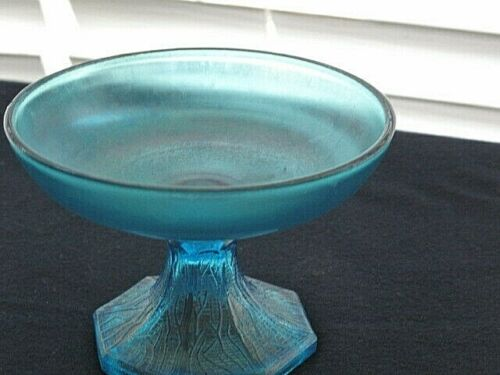 """Northwood Tree of Life Cupped Comport Blue Stretch Iridescent Glass 4""""H"""